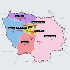 Carte Region Ile de France