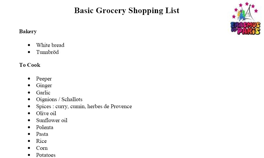 The Basic Grocery Shopping List