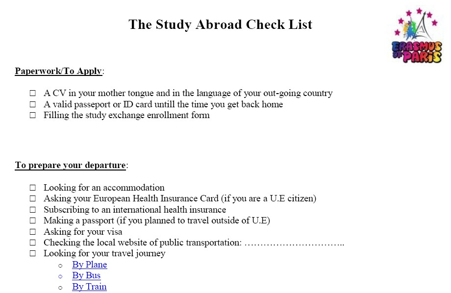 The Study Abroad Check List