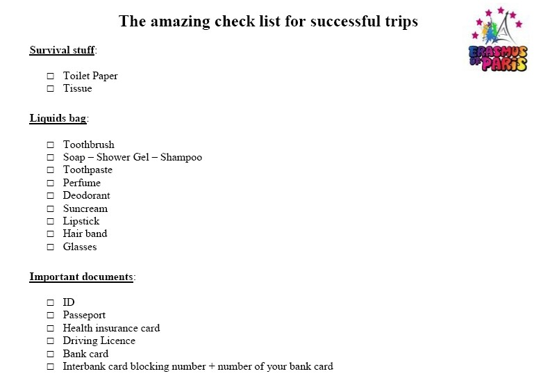 The Amazing Check List for Successful Trips